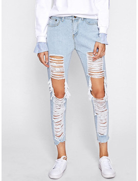 Extreme Distressing Ripped Knees Jeans by Sheinside