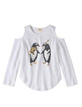 Btween Girls' Cold Shoulder Sequin Graphic Long Sleeve Top by Btween