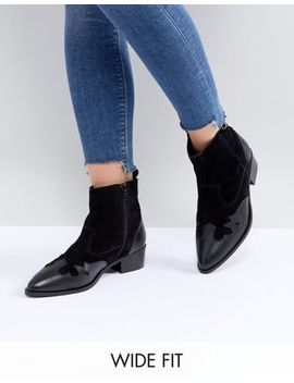 River Island Wide Fit Leather Western Ankle Boots by River Island