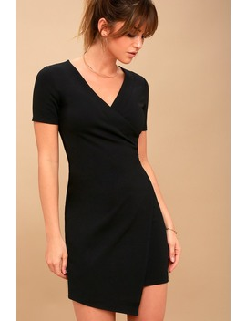 Rowen Black Asymmetrical Bodycon Dress by Lulus