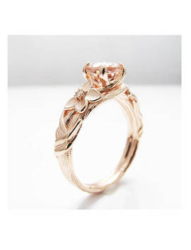 Nature Inspired Rose Gold Engagement Ring Branch Ring 14 K Rose Gold Morganite Engagement Ring by Etsy