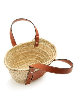 Leather Trimmed Small Raffia Basket Bag by Loewe