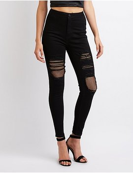 Destroyed Hi Rise Skinny Jeans by Charlotte Russe