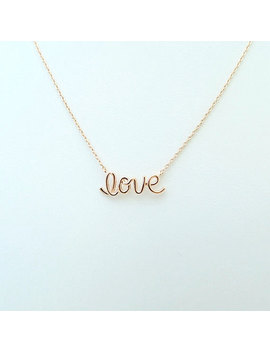 Love Necklace Script Love Word Necklace Lucky Charm Necklace Everyday Necklace Birthday Gift Bridesmaids Gift Minimalist Jewelry Rose Gold by Etsy