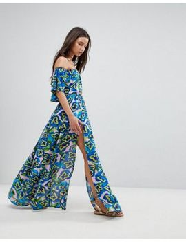 Asos Frill Beach Co Ord Top &Amp; Maxi Skirt In Pansy Print by Asos Brand