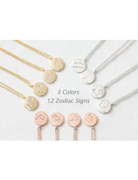 12 Zodiac Signs Necklace, Constellation Necklace, Dainty Necklace, Delicate Necklace, Round Charm Necklace, Zodiac Jewelry, Bridesmaid Gift by Etsy