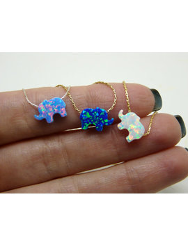 Elephant Necklace, Opal Elephant Necklace, Lucky Charm Necklace, Animal Necklace, Kids Jewelry, Opal Jewelry, Children Jewelry by Etsy