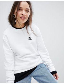 Adidas Originals – Weißes Sweatshirt Mit Kleinem Dreiblatt by Adidas