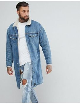 Sixth June Longline Denim Jacket With Fleece Lining by Sixth June