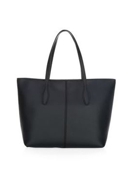 Medium Joy Zip Top Leather Tote Bag by Tod's