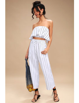 Clemence Navy Blue And White Striped Culottes by Faithfull The Brand