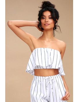 Mala Navy Blue And White Striped Strapless Crop Top by Faithfull The Brand