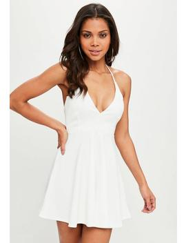 White Scuba Halter Neck Skater Dress by Missguided