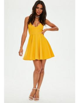 Mustard Yellow Strappy Skater Dress by Missguided
