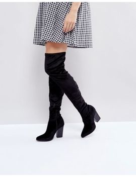 London Rebel Velvet Block Point Toe Over Knee Boot by Boots