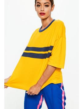 Yellow Drop Shoulder Color Block T Shirt by Missguided