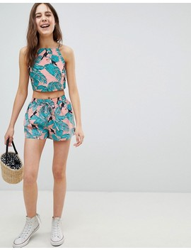 Glamorous Shorts With Tie Waist In Toucan Print Co Ord by Glamorous