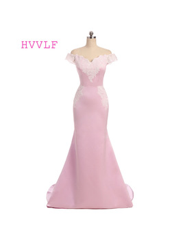 Pink Evening Dresses 2018 Mermaid V Neck Cap Sleeves Satin Lace Appliques Backless Long Evening Gown Prom Dress Prom Gown by Shop1298386 Store