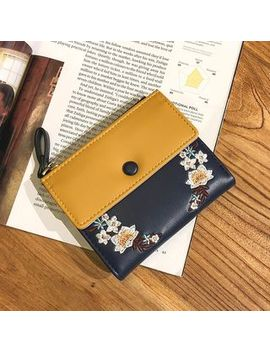 Faux Leather Embroidered Wallet by Ginadore