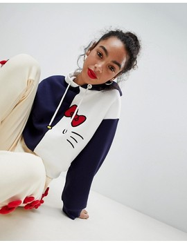 Hello Kitty X Asos Cropped Colour Block Hoodie by Asos Design