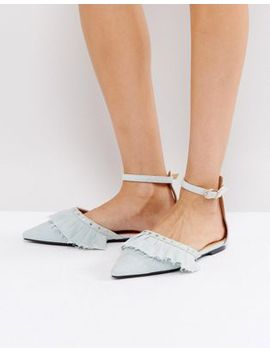 Raid Kinsley Denim Ruffle Flat Shoes by Raid