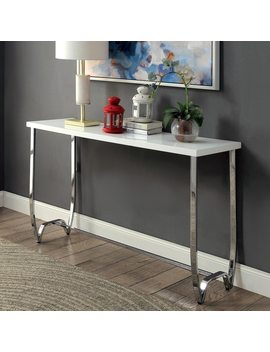 Furniture Of America Lenar Contemporary White Curvy Metal Base Sofa Table by Furniture Of America