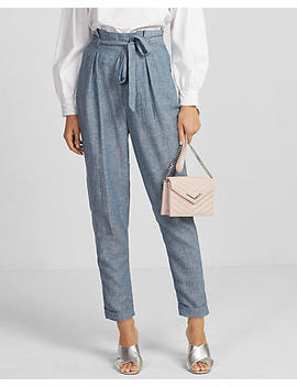High Waisted Linen Blend Sash Waist Pant by Express