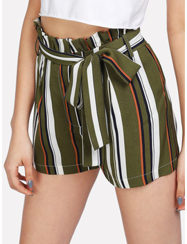 Self Belt Ruffle Waist Striped Shorts by Shein