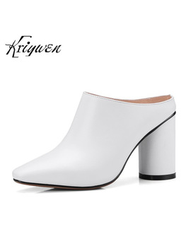 Kriywen 2018 Women Mules Fashion Lady Cow Leather High Heeled Woman Shoes Black Brown Pumps Sapato Feminino Chaussures Femmes by Kriywen Vip Store