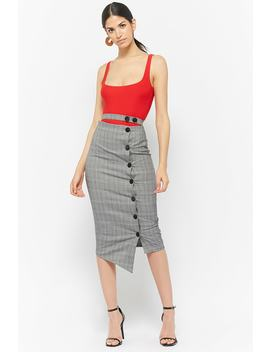 Button Front Glen Check Skirt by F21 Contemporary