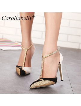 2017 New Rhinestone High Heels Women Pumps Sexy Pointed Stiletto Heels Brand Mix Color Patchwork Gold Dress Shoe by Under Feet Store