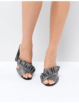 Forever New Metallic Ruffle Mule by Forever New