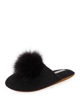 Cashmere Fur Pompom Slipper by Neiman Marcus