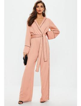 Pink Contrast Piping Pyjama Wrap Jumpsuit by Missguided