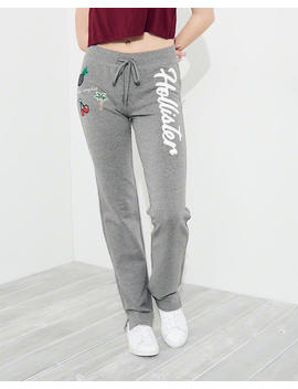 Graphic Mid Rise Straight Leg Sweatpants by Hollister