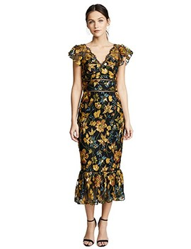 Embroidered Cocktail Dress With Flutter Sleeves by Marchesa Notte