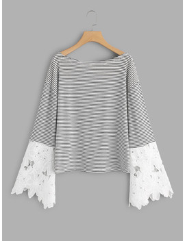 Contrast Scallop Lace Sleeve Striped Tee by Shein