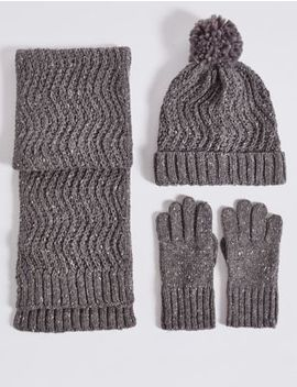 Kids' Hat, Scarf & Gloves Set by Marks & Spencer