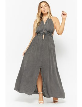 Plus Size Boho Me Plunging Halter Maxi Dress by Forever 21