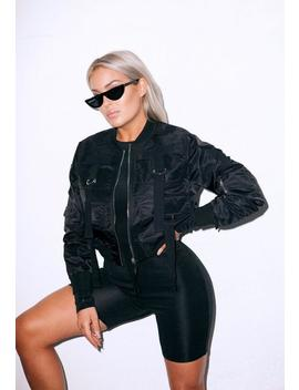 Fanny Lyckman X Missguided Black Cropped Bomber Jacket by Missguided