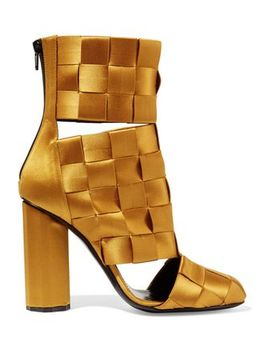 Cutout Basketweave Satin Ankle Boots by Marco De Vincenzo