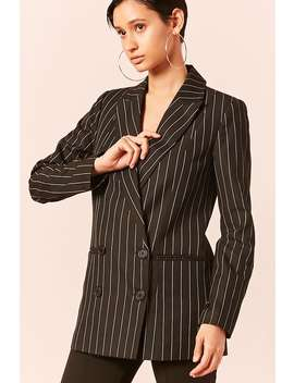 Pinstripe Double Breasted Blazer by Forever 21