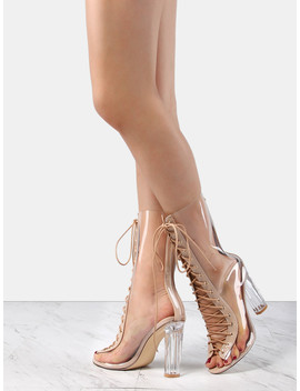 Perspex Lace Up Clear Booties Clear by Sheinside