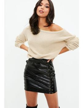 Nude Crop Off The Shoulder Knitted Jumper by Missguided