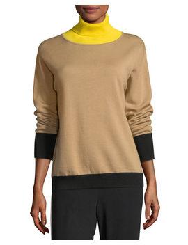 Rhea Turtleneck Colorblocked Wool Cashmere Sweater by Rag & Bone/Jean