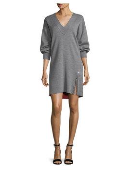 Saralyn V Neck Sweatshirt Dress With Snap Detail by Rag & Bone