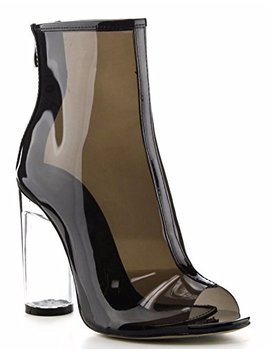 Cape Robbin Benny 1 Open Toe Block Chunky Clear Perspex Heel Ankle Boot Bootie Shoe Black by Cape Robbin