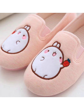 Cute Rabbit Home Slippers Women House Shoes Cotton Fabric Flats For Girls Ladies Indoor Bedroom Cotton Soft Bottom Comfortable by Letang Co.,Ltd Store