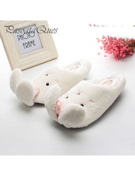 Cute Rabbit Animal Pattern Cotton Home Slippers Women Indoor Shoes For Bedroom Adult Guest House Warm Winter Soft Bottom Flats by Pasoataques Official Store