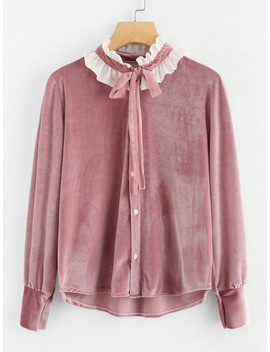 Contrast Frill Trim Tie Neck Velvet Shirt by Sheinside